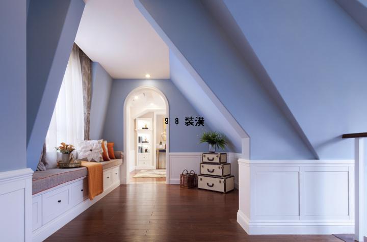 昆山大平层240平米美式风格效果图-案例-昆山98装潢网