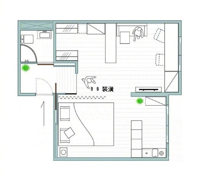 大连35㎡旧房改造,明亮的色调充满活力。效果图-案例-大连98装潢网