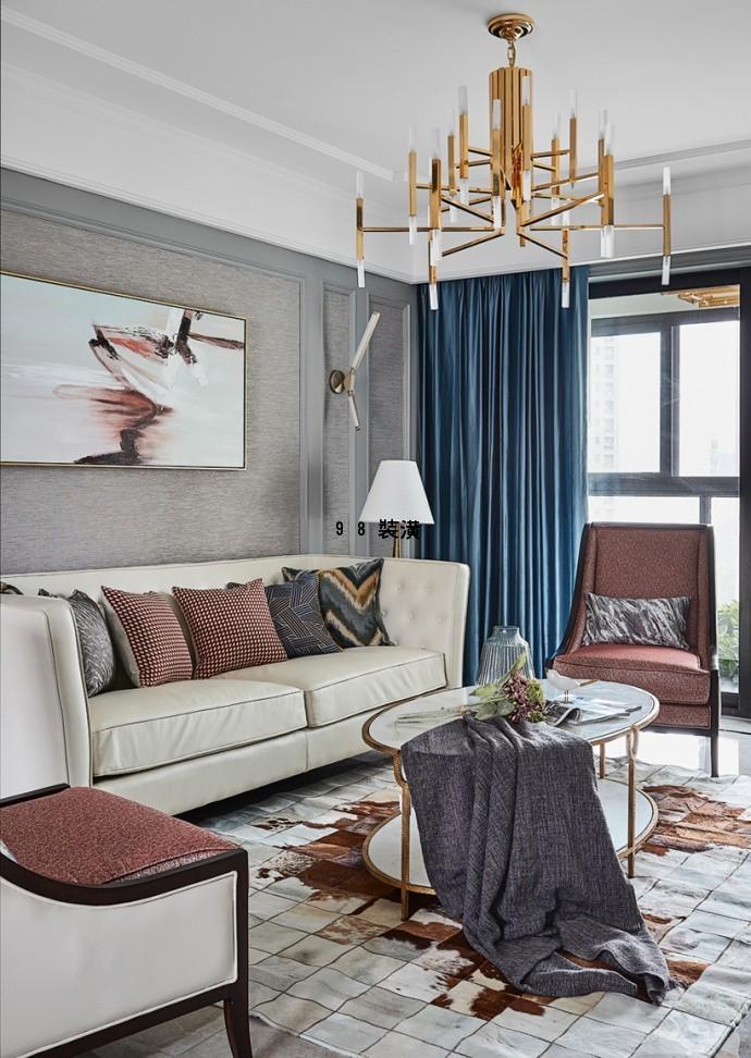 昆山四十两厅美式轻奢,建筑面积136平米效果图-案例-昆山98装潢网