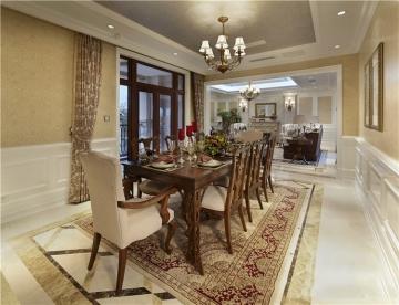 180平米美式轻奢风格别墅装修效果图案例昆山