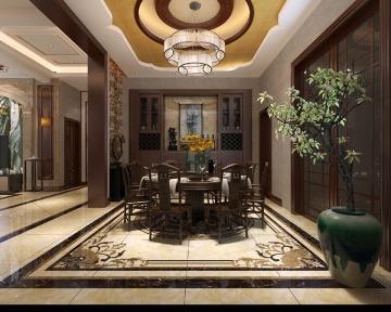 昆山200平米新中式风格装修效果图-复式楼